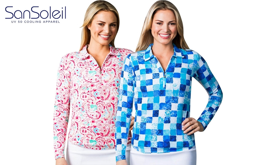 TwoFers XS-XL. 900610 SolTek ICE L/S Print Polo. Savannah Pink and Del Mar