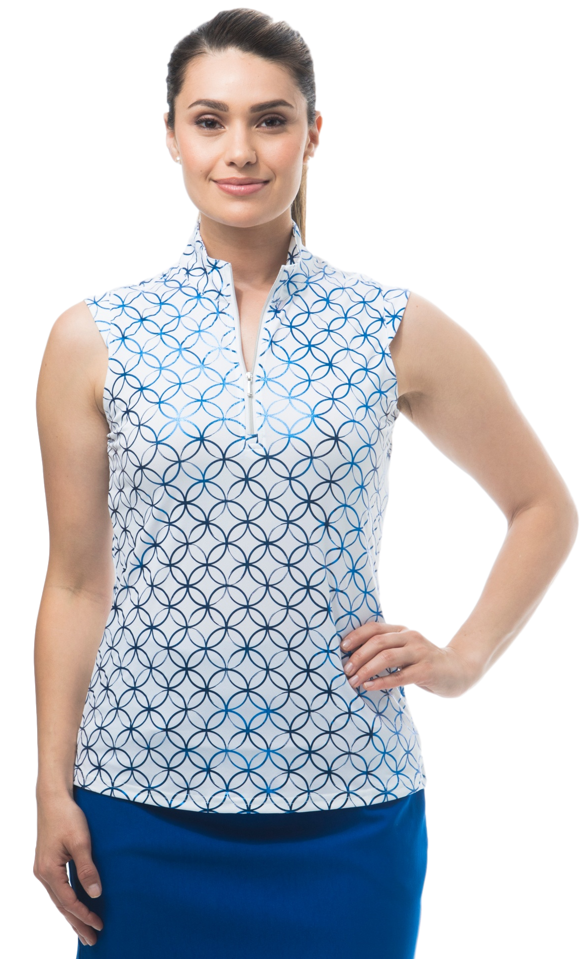 900321 - SolShine Sleeveless Zip Mock. Lattice. White Blue