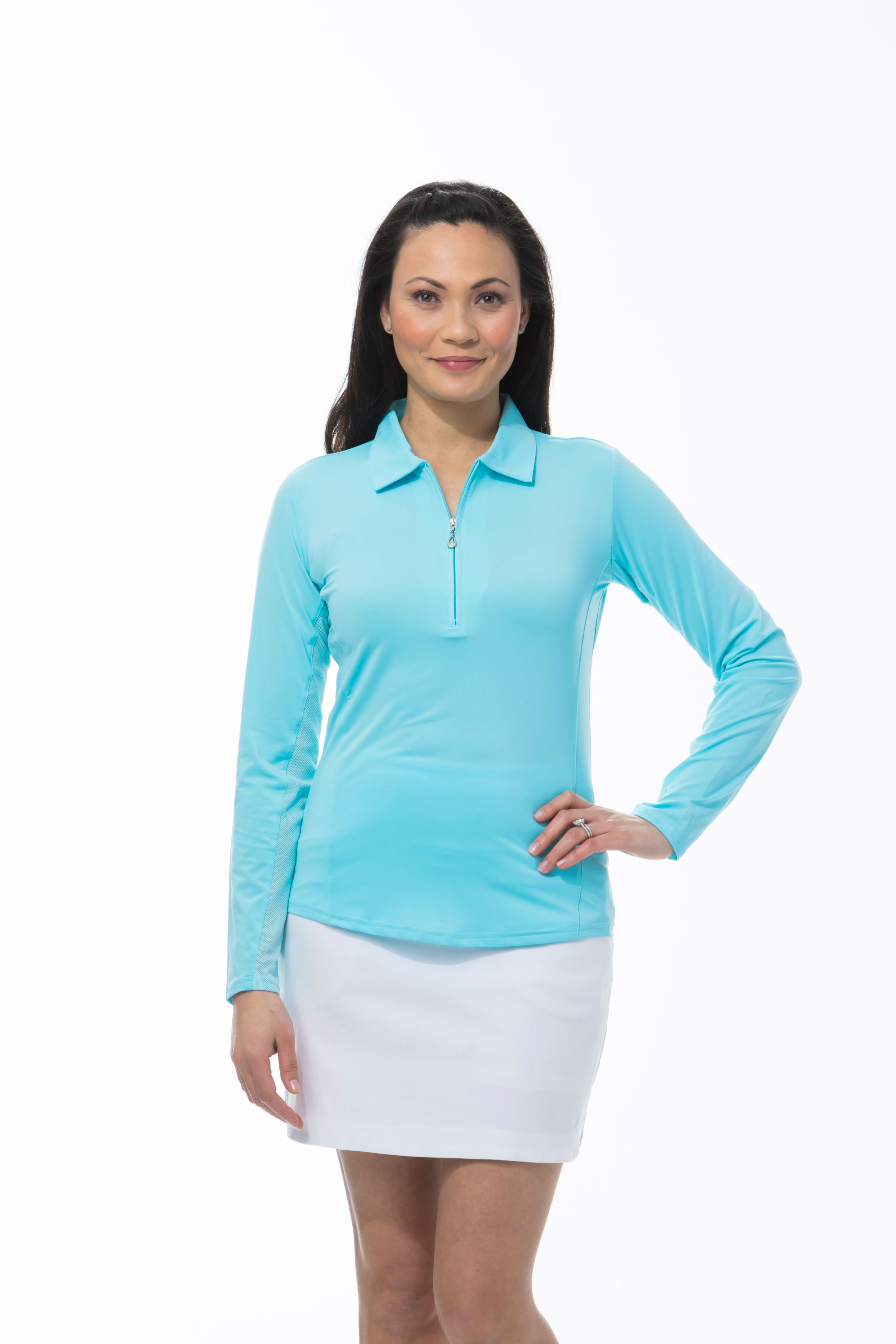 900433 SunGlow Zip Polo. Capri Blue