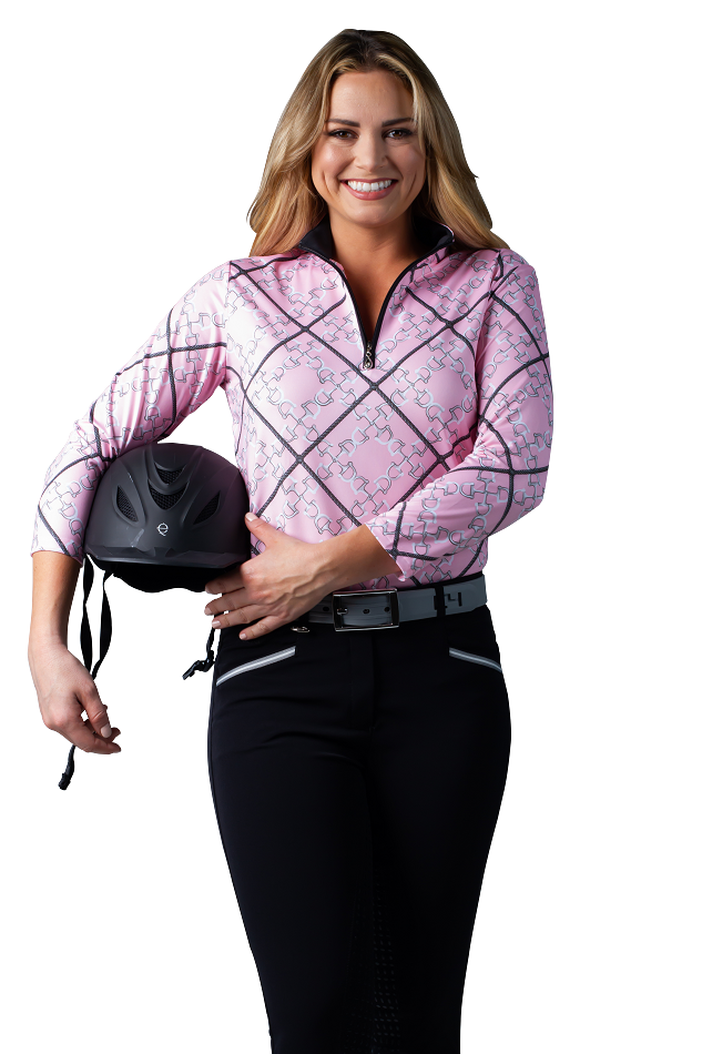 900472 SolCool 3/4 Sleeve Zip Mock. Ditsy Bits Pink