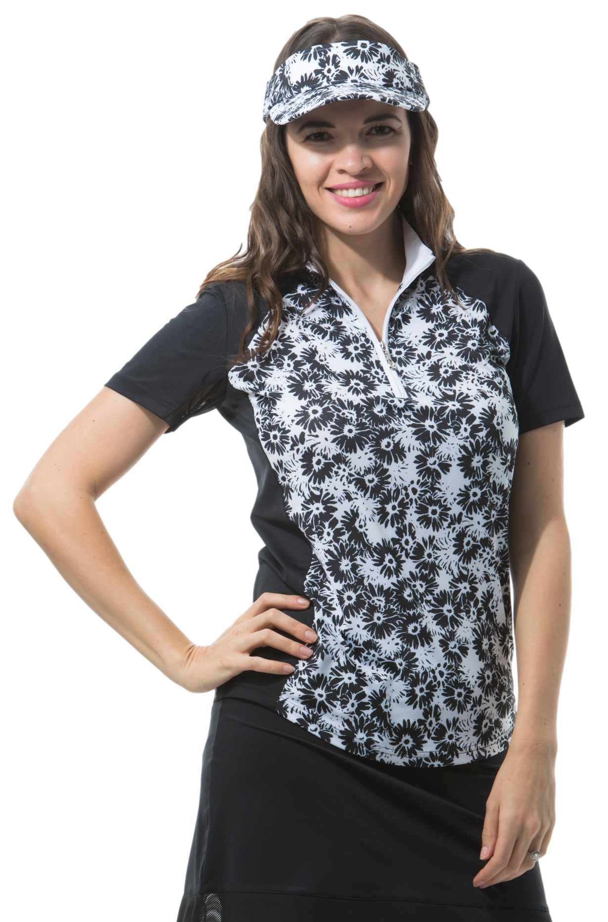 SANSOLEIL SOLCOOL SHORT SLEEVE MOCK - LAZY DAISY. BLACK. 900477
