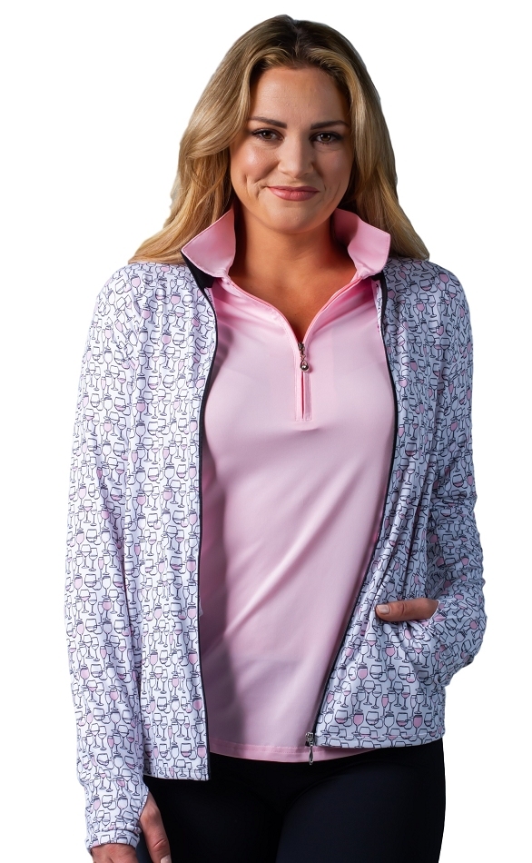 900506 SolStyle Cool Full Zip Front Mock.  Rose Drink Print