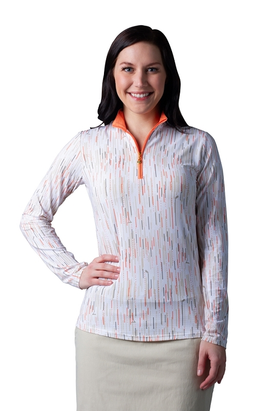 900611 SOLTEKICE L/S PRINT MOCK. PICK-UP-STICKS PAPAYA