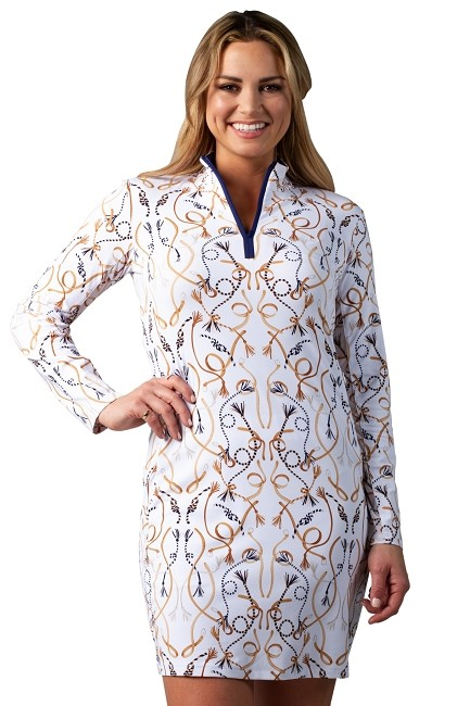900720I. SanSoleil SolStyle ICE. Long Sleeve Zip Mock Dress with attached athletic short.  Hitched Equestrian Print