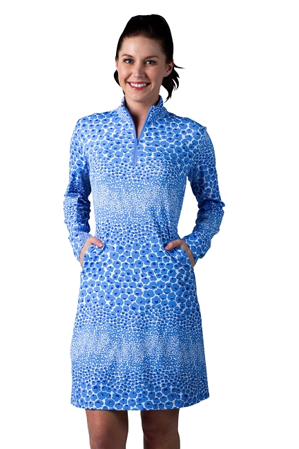 900720I. SanSoleil SolStyle ICE. Long Sleeve Zip Mock Dress with attached athletic short.  Garland Cornflower Blue