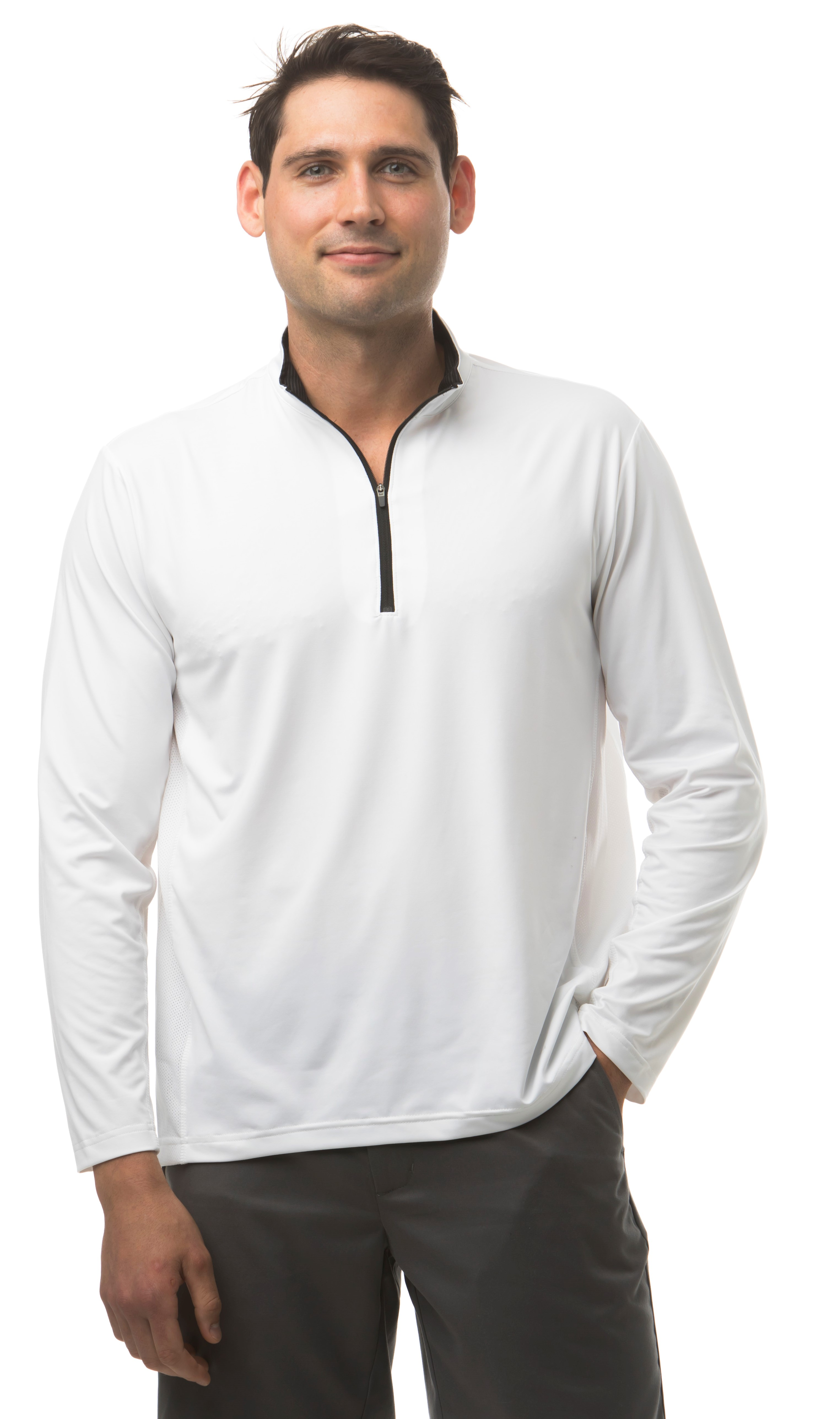 900821 SanSoleil Men's Solcool Long Sleeve Zip Mock With Mesh-White w/Black-Grey Stripe Collar Treatment