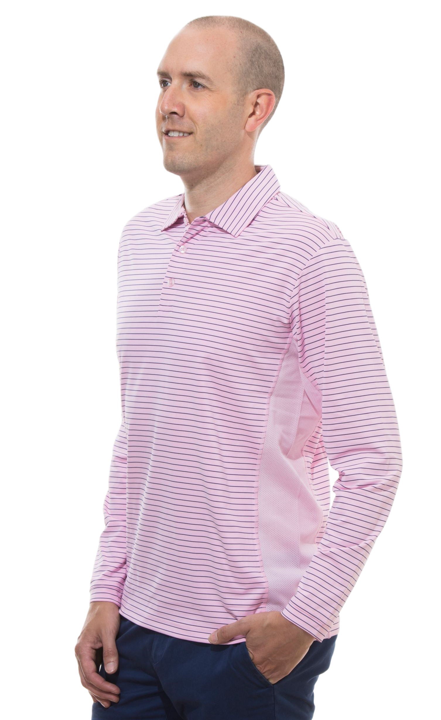 900824S SanSoleil Men'S Solcool Long Sleeve Stripe Button Polo- Pink with Submarine Blue Stripe