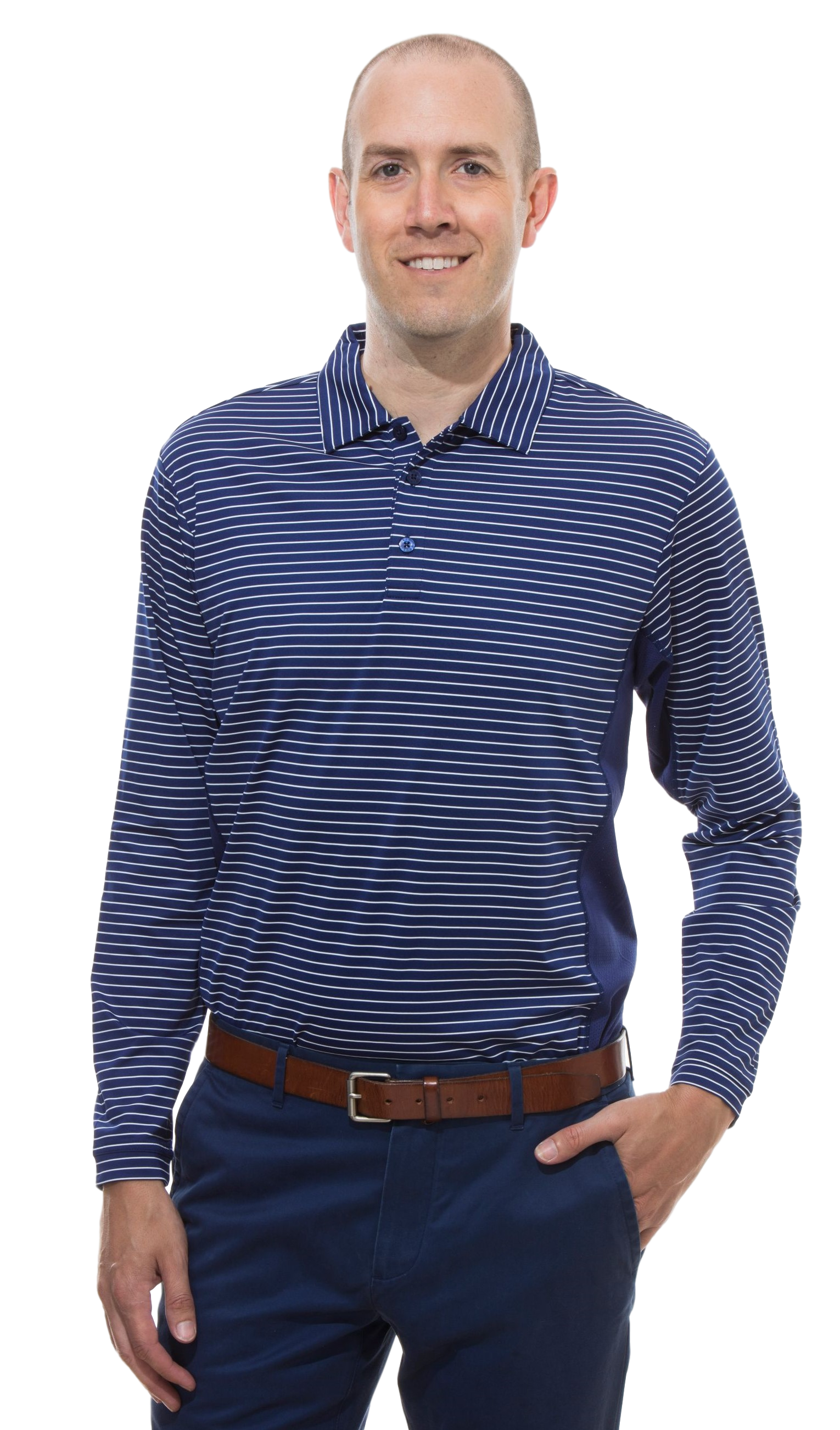900824S SanSoleil Men'S Solcool Long Sleeve Stripe Button Polo- Submarine Blue and White Stripe