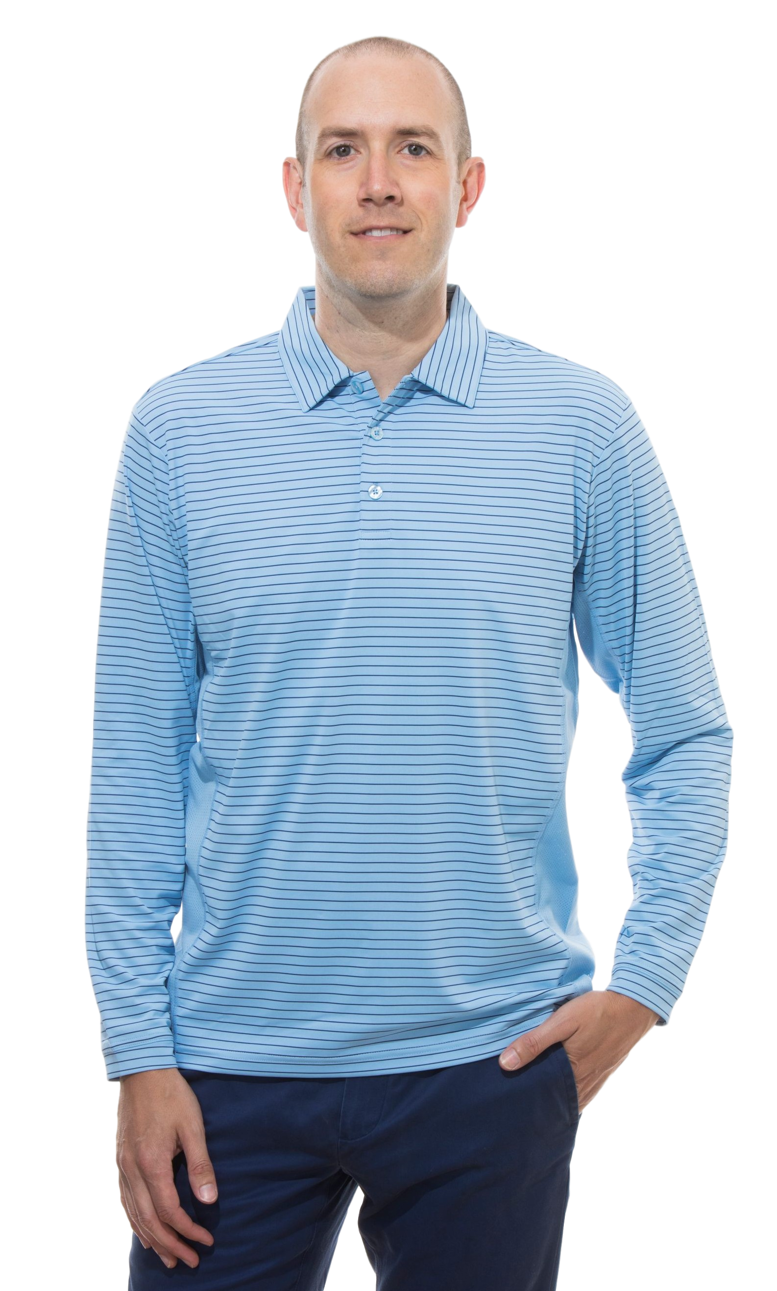 900824S SanSoleil Men'S Solcool Long Sleeve Stripe Button Polo-Vintage Blue with Submarine Bue Stripe
