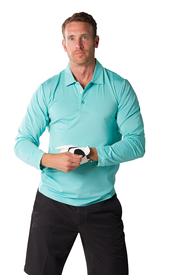 900824 SanSoleil  Men's SolCool® Button Polo with mesh. Mist