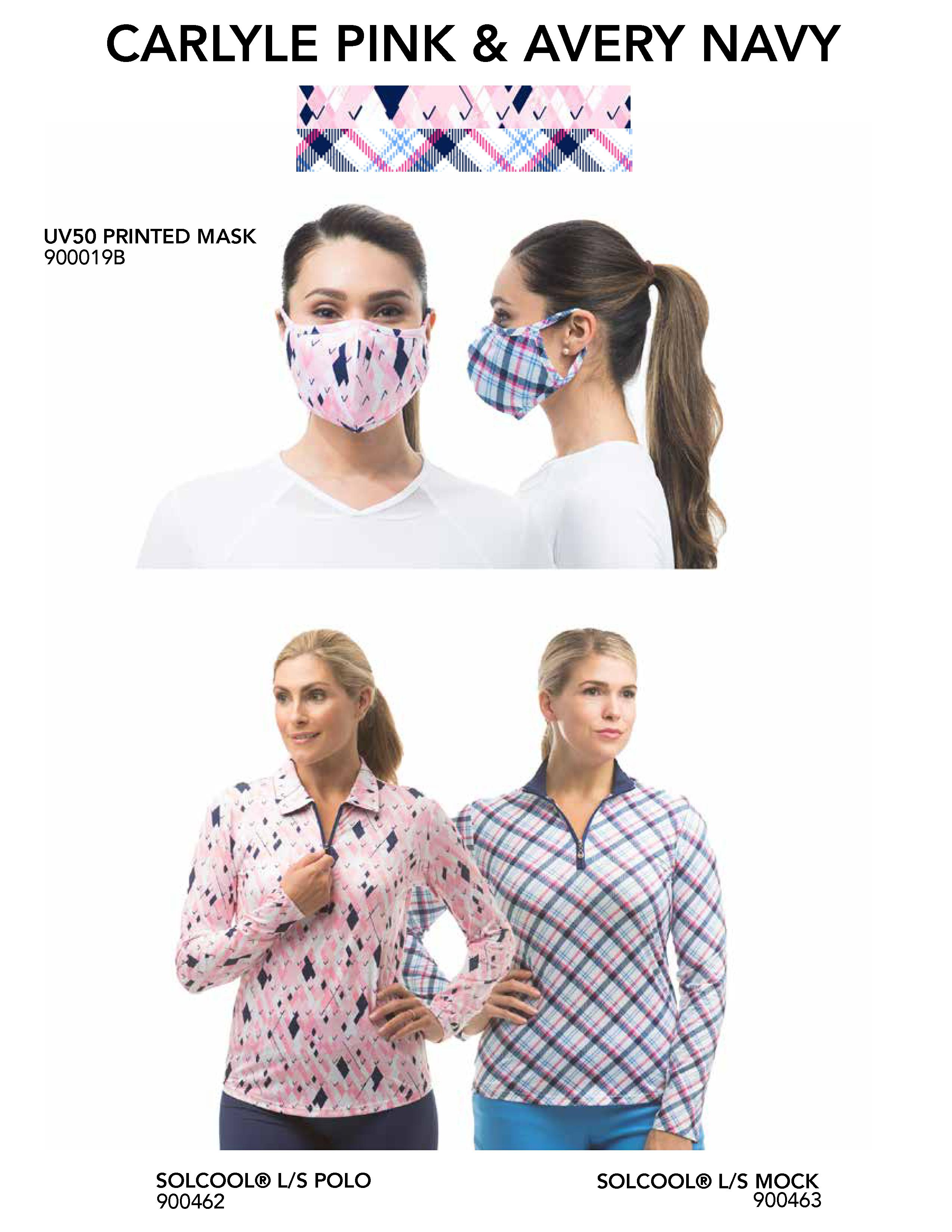 900919 AVYNA/CARLP Mask/Top Bundle-900462 Carlyle Pink and 900463 Avery Navy