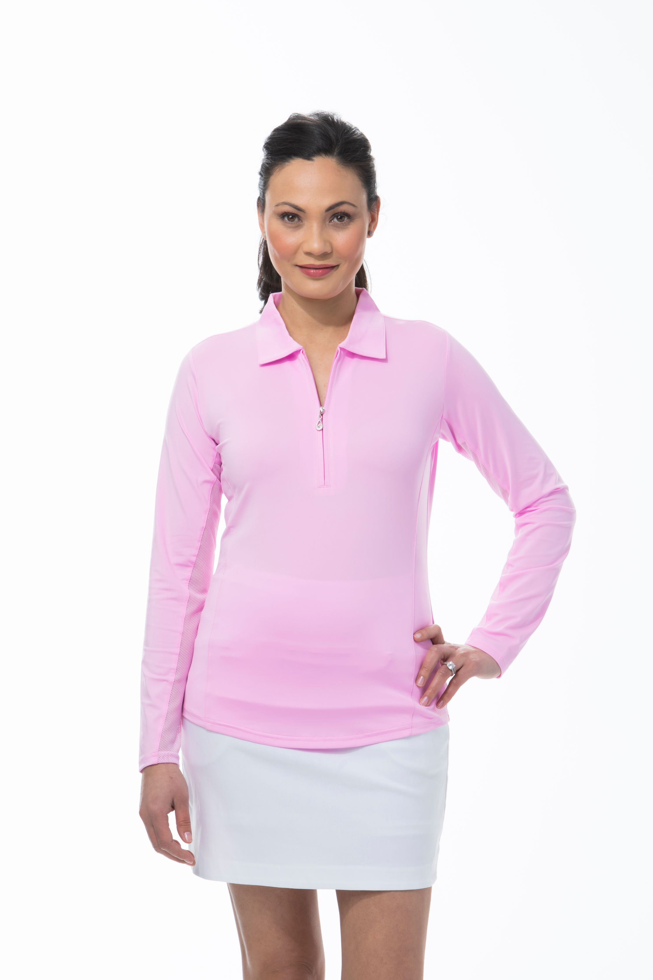 900433 SunGlow Zip Polo. Pink