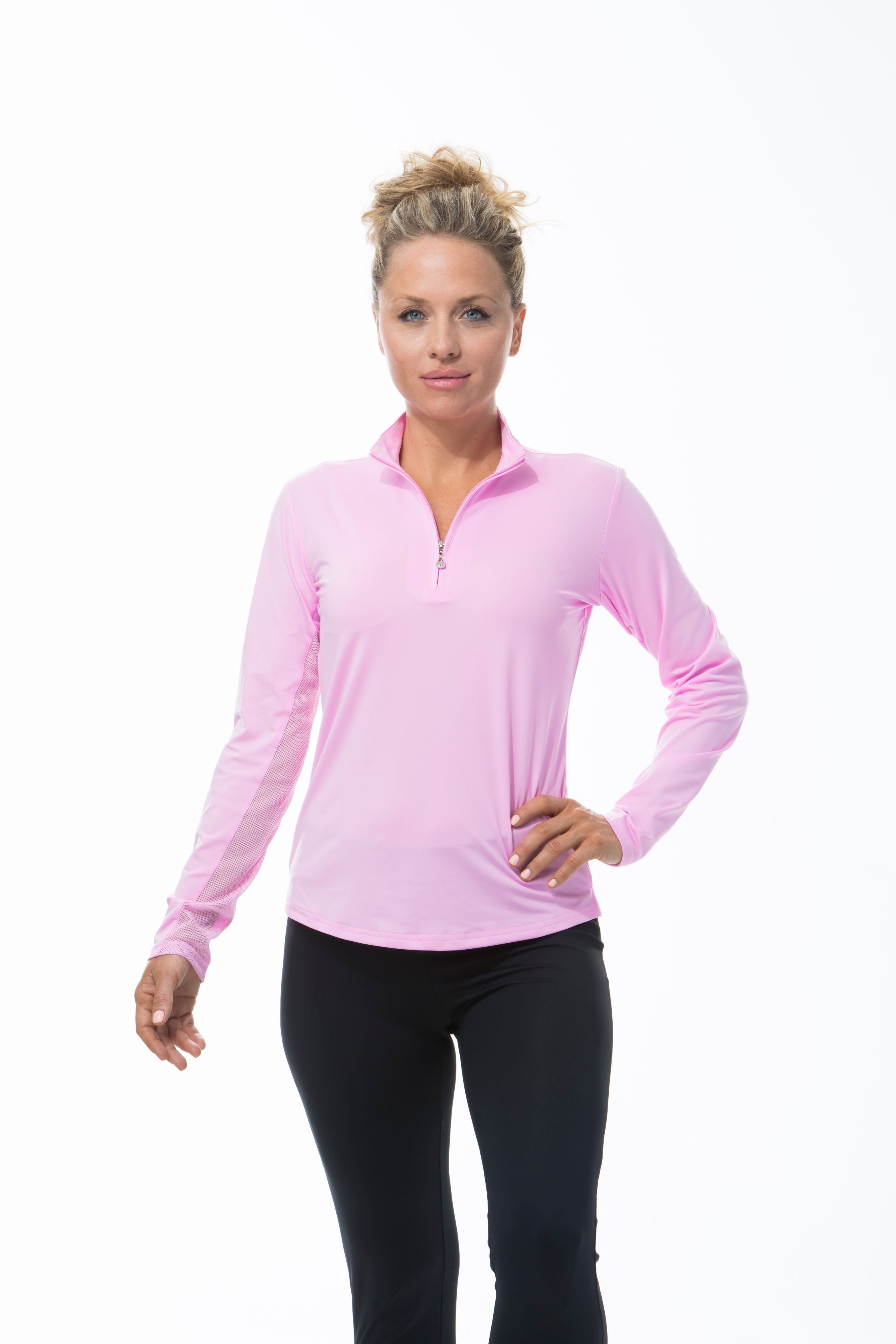 900434 SunGlow Zip Mock. Pink