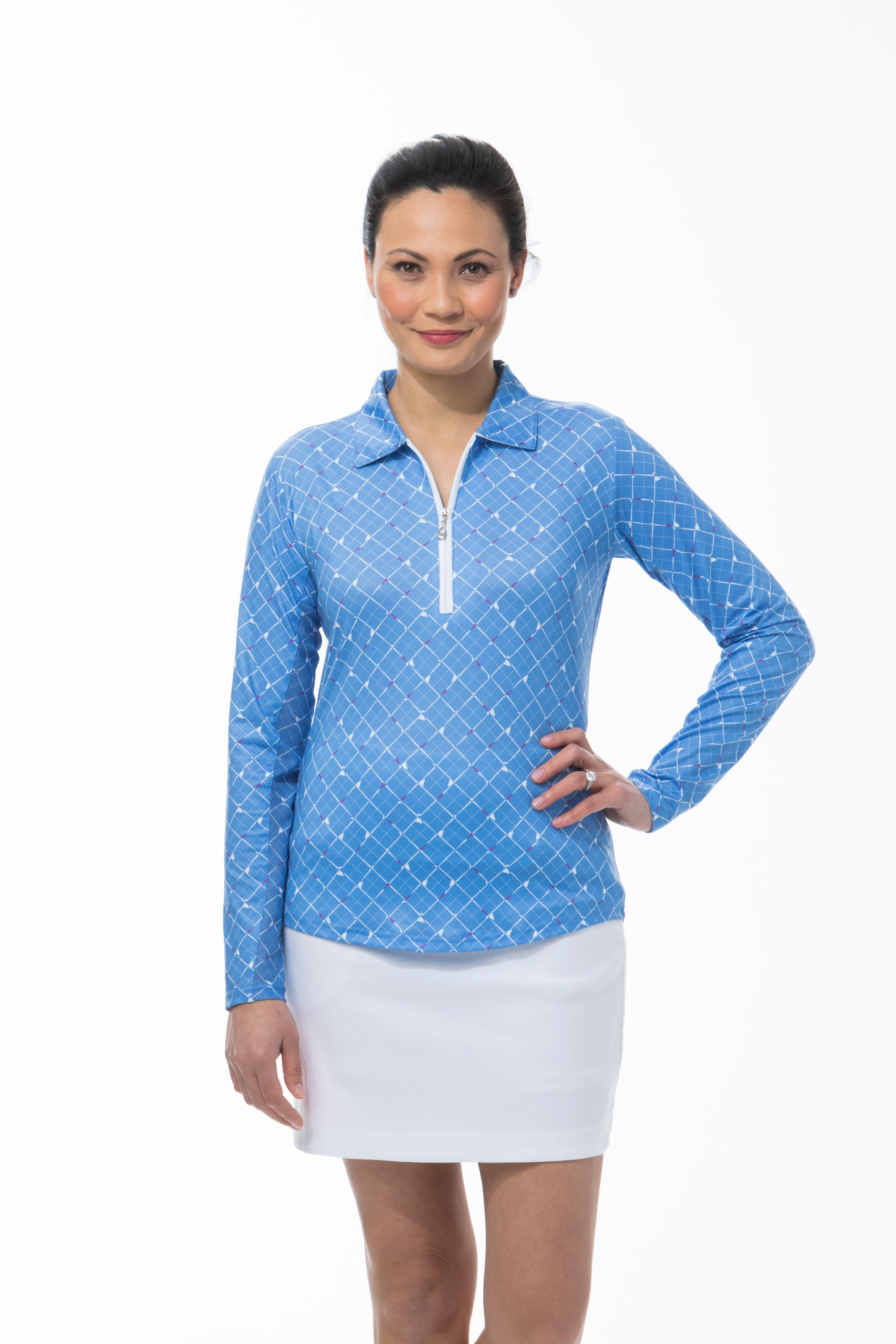 900462 SolCool Zip Polo. Tee Box. CornFlower Blue