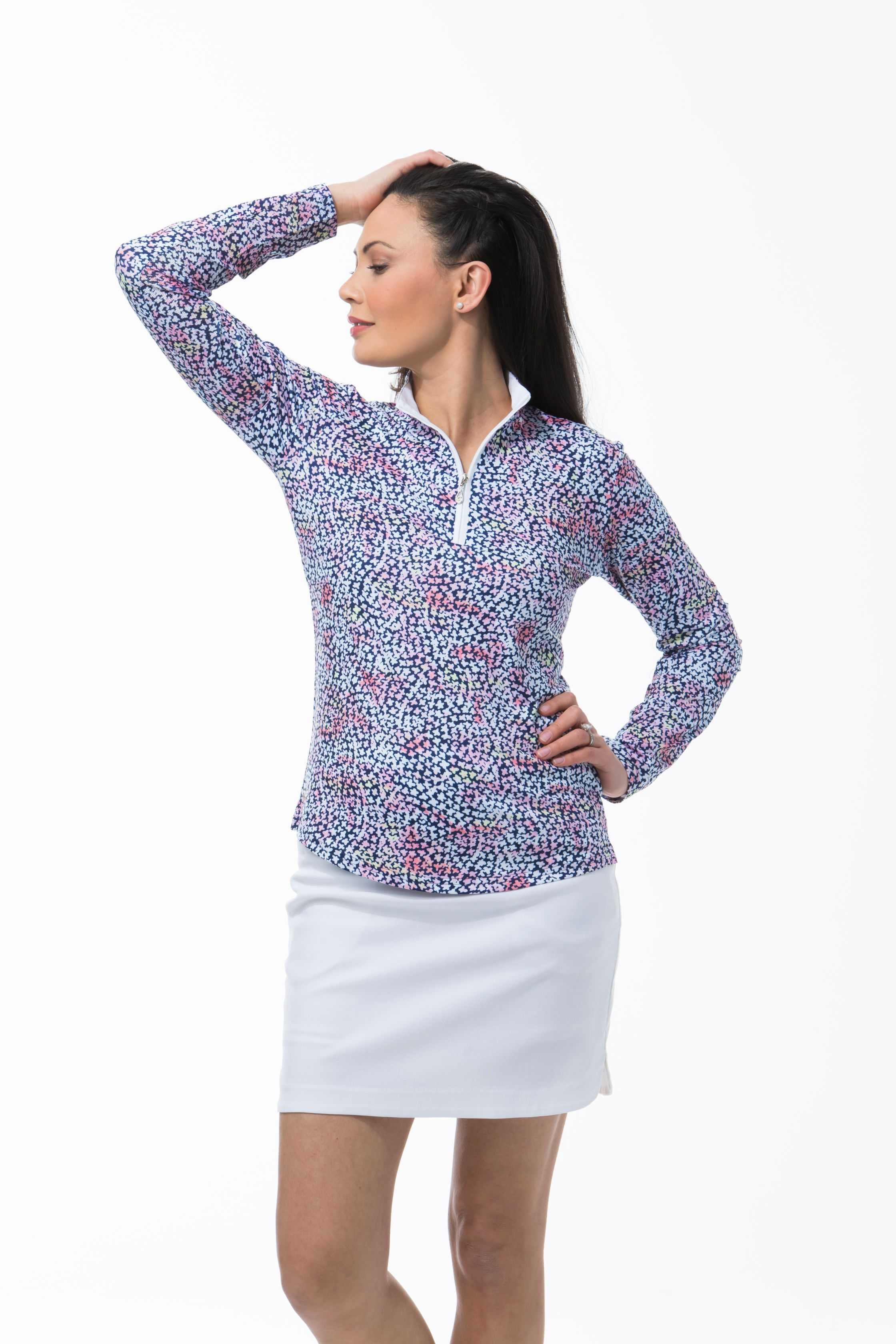 900463 - SolCool Zip Mock Forget Me Knot. Pink