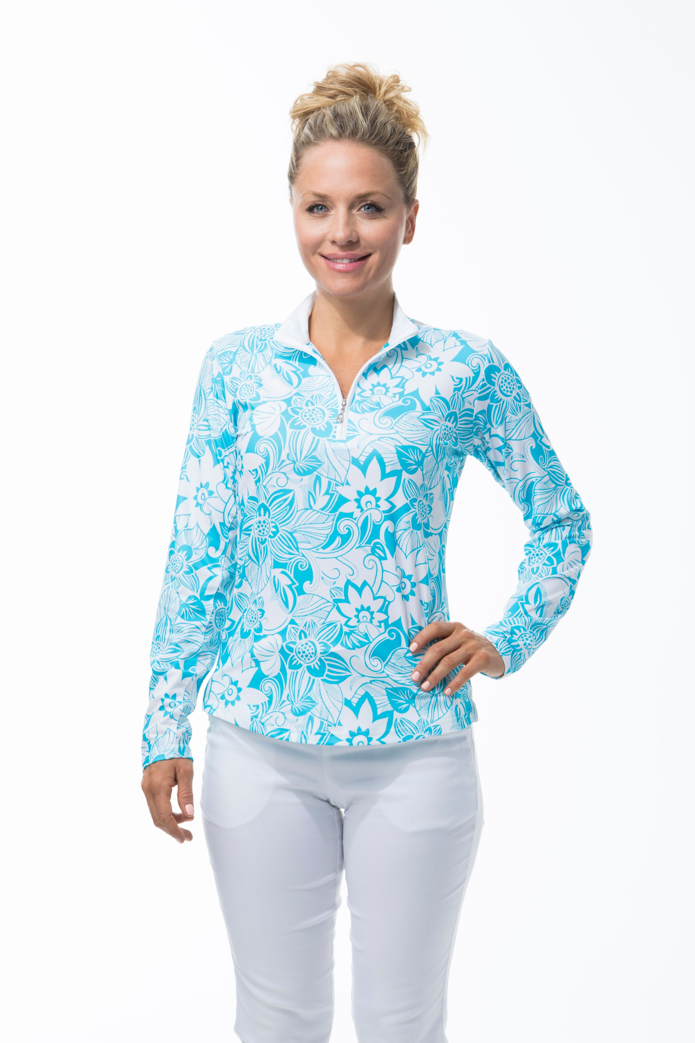 900463 -SolCool Zip Mock Kona Coast.  Turquoise