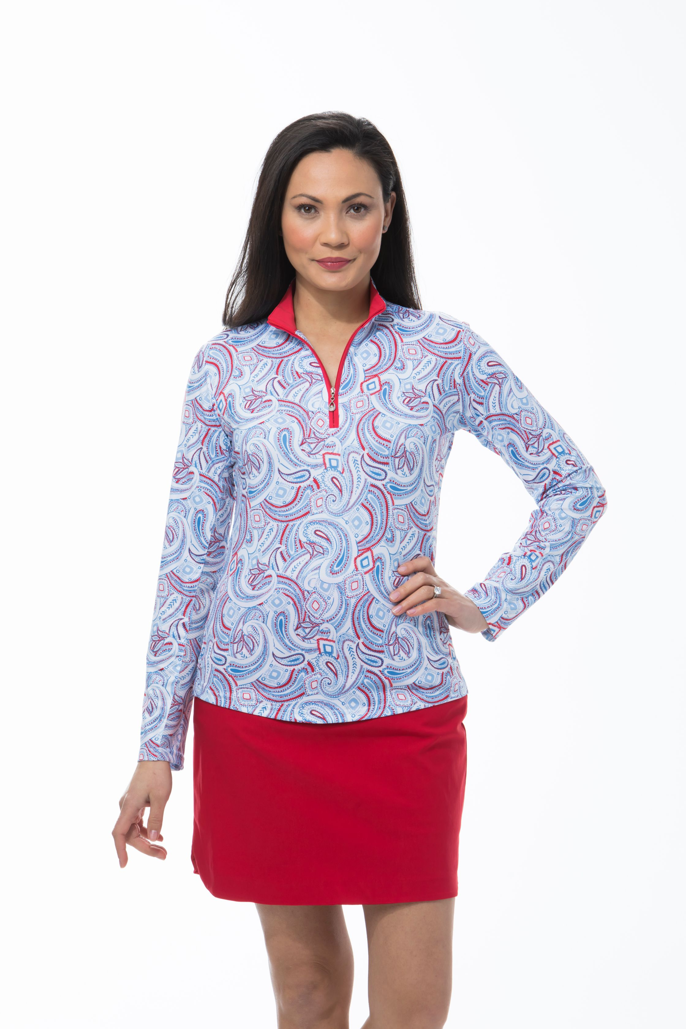 900463 - SolCool Zip Mock Pop Paisley. White Blue Red