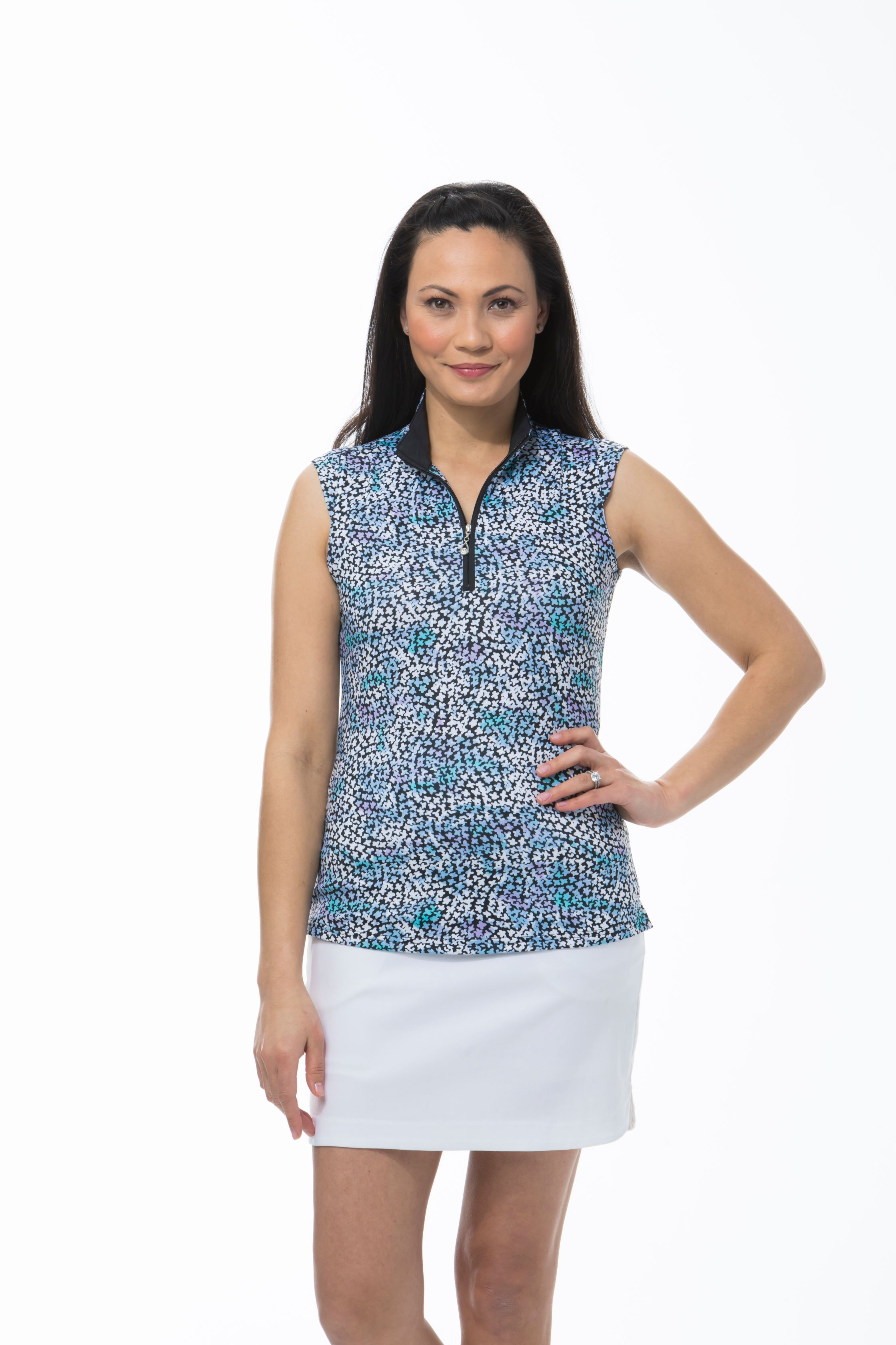 SANSOLEIL SOLCOOL SLEEVELESS MOCK. FORGET ME NOT. BLUE. 900471
