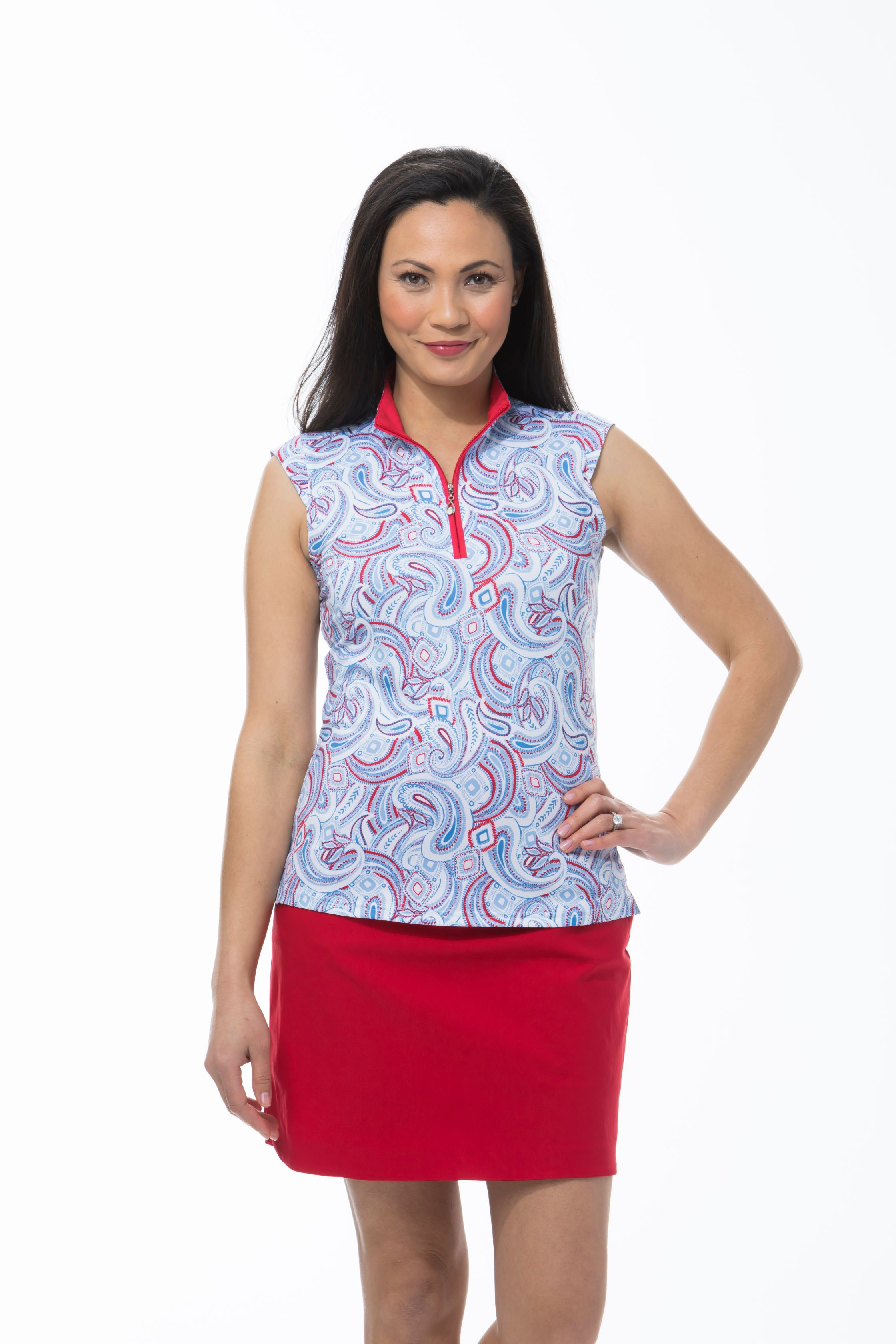 900471 SOLCOOL SLEEVELESS MOCK. Pop Paisley