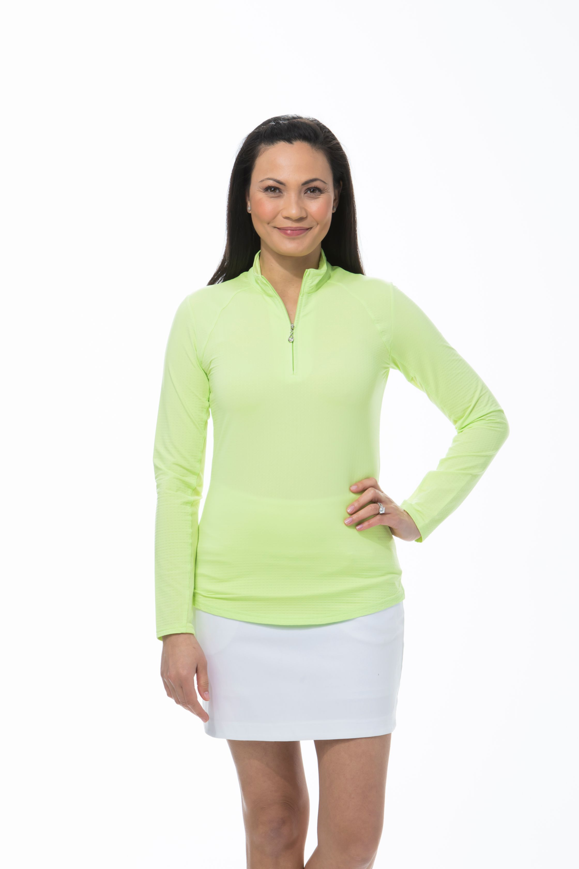 900601 SanSoleil SolTek Ice Zip Polo. Lime