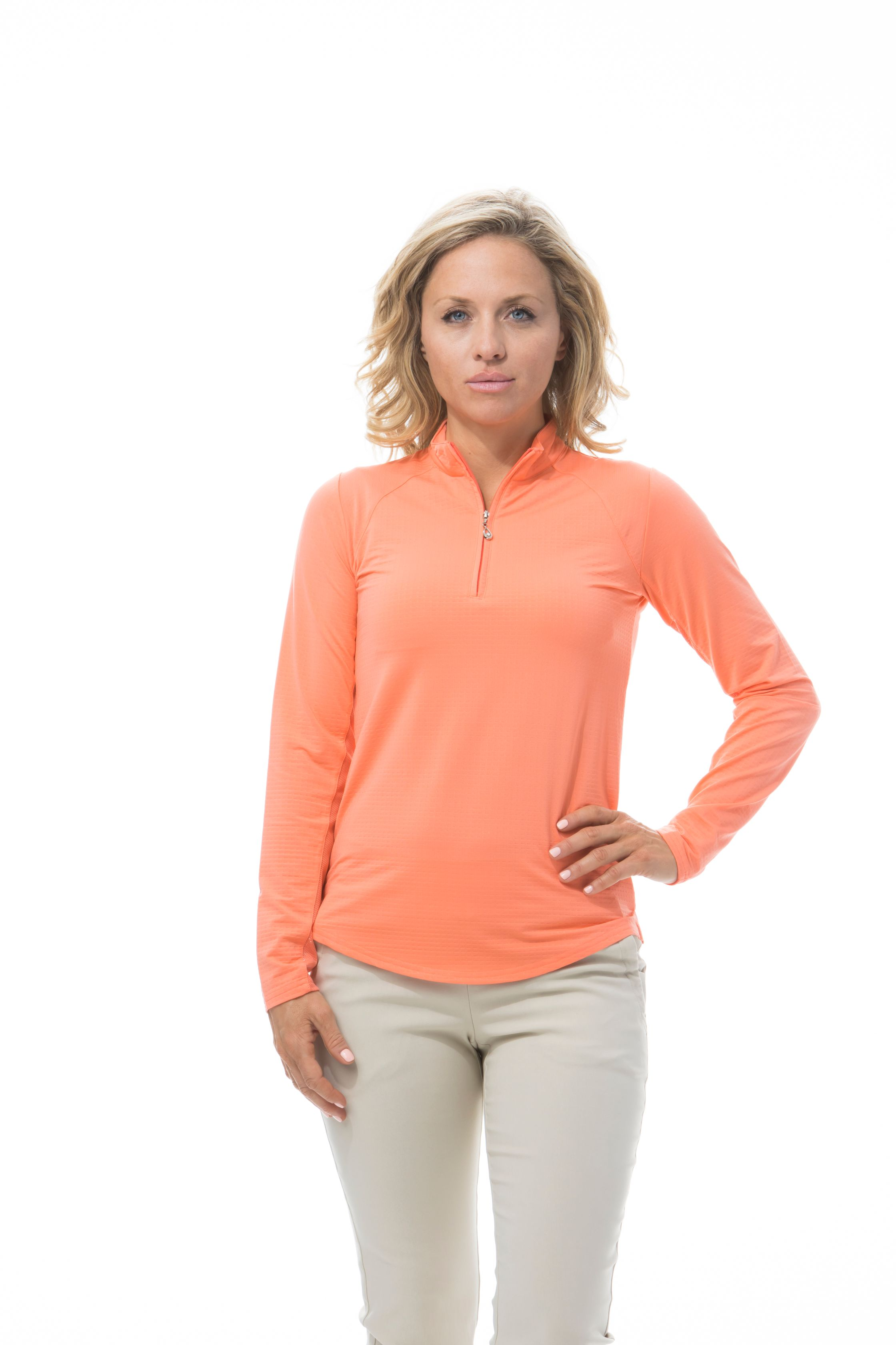 900601 SanSoleil SolTek Ice  Zip Polo. Papaya Living Coral