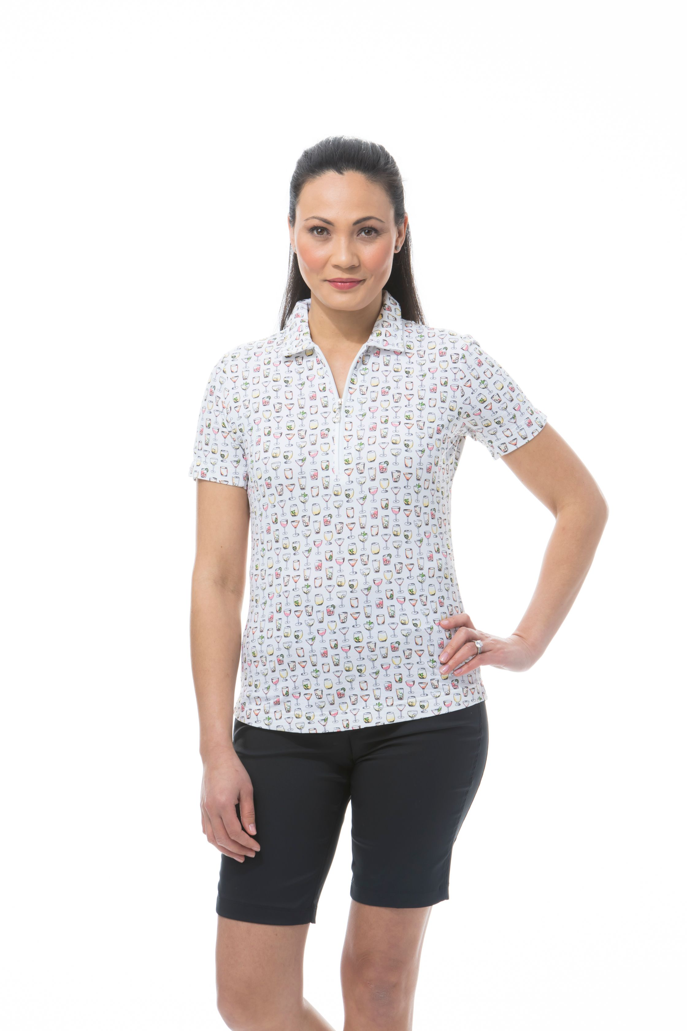 SANSOLEIL SOLTEK ICE FITTED SHORT SLEEVE POLO. ON THE ROCKS. 900615