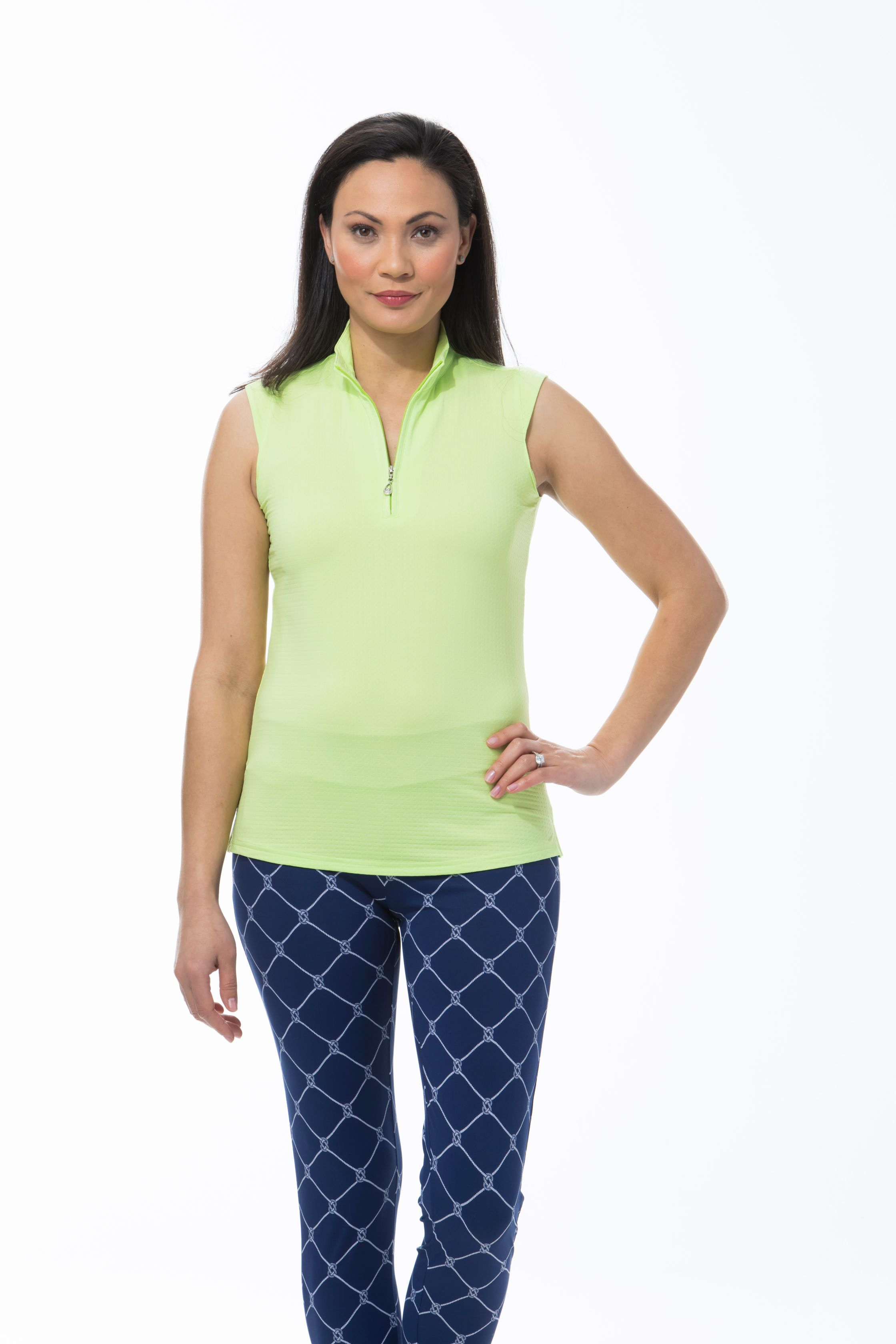 SANSOLEIL SOLTEKICE SLEEVELESS MOCK. LIME. 900617