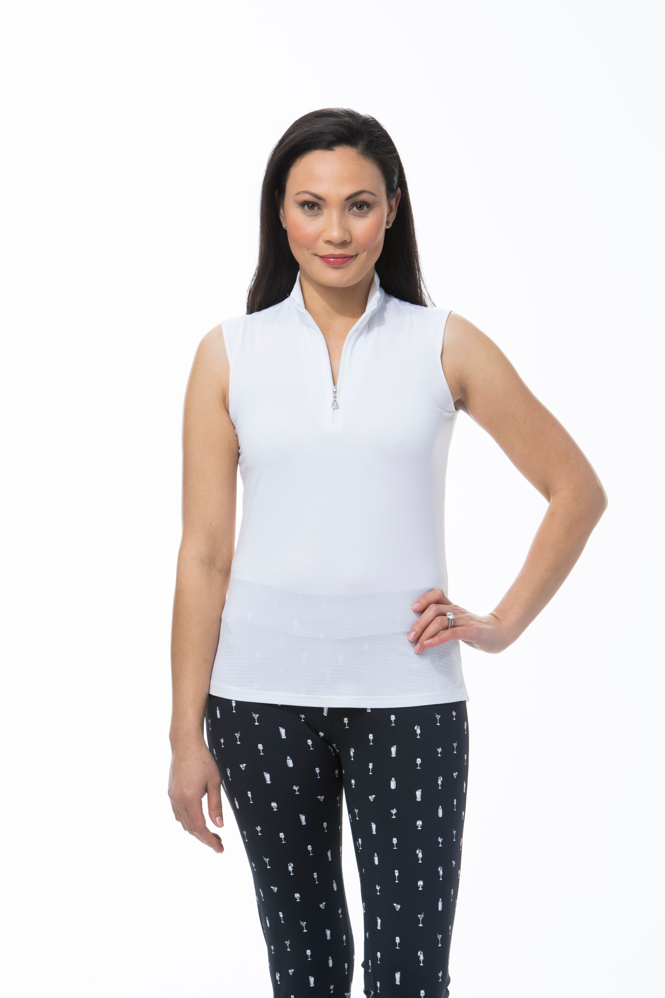 900617 SOLTEKICE SLEEVELESS MOCK. White