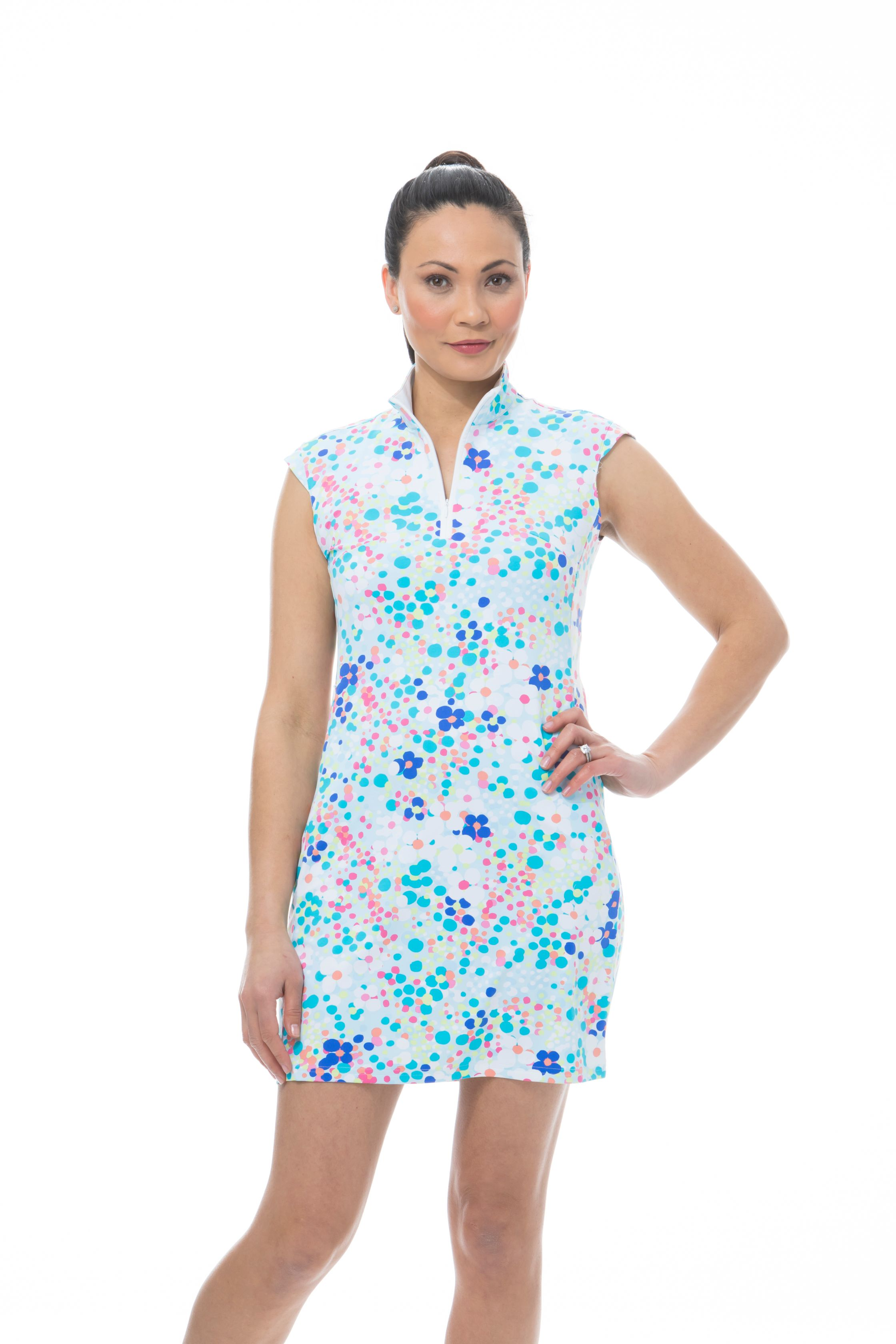 900722I. SanSoleil SolStyle ICE. Sleeveless Zip Mock Dress. Flower Power