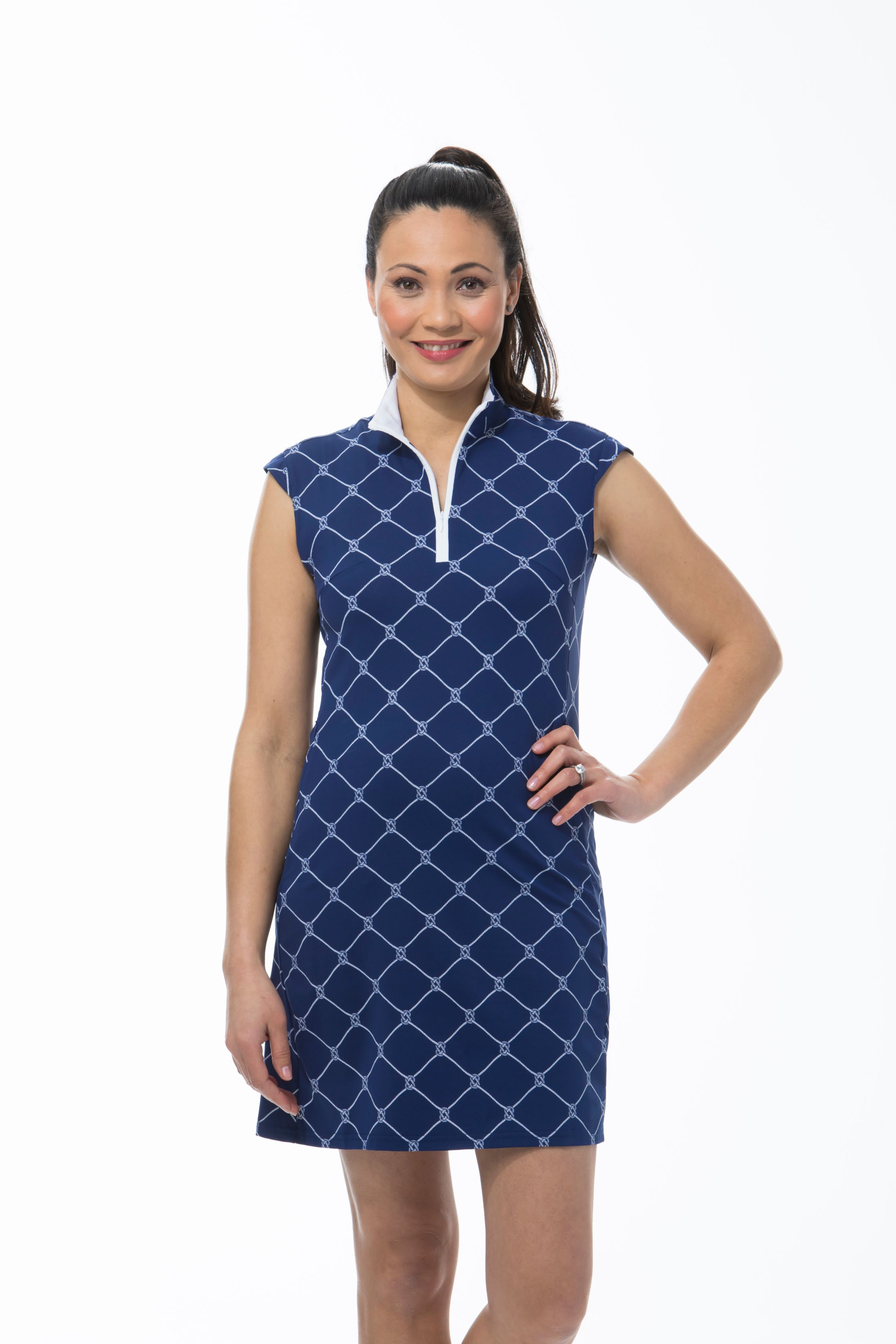 900722I. SanSoleil SolStyle ICE. Sleeveless Zip Mock Dress. Knotical Navy Blue
