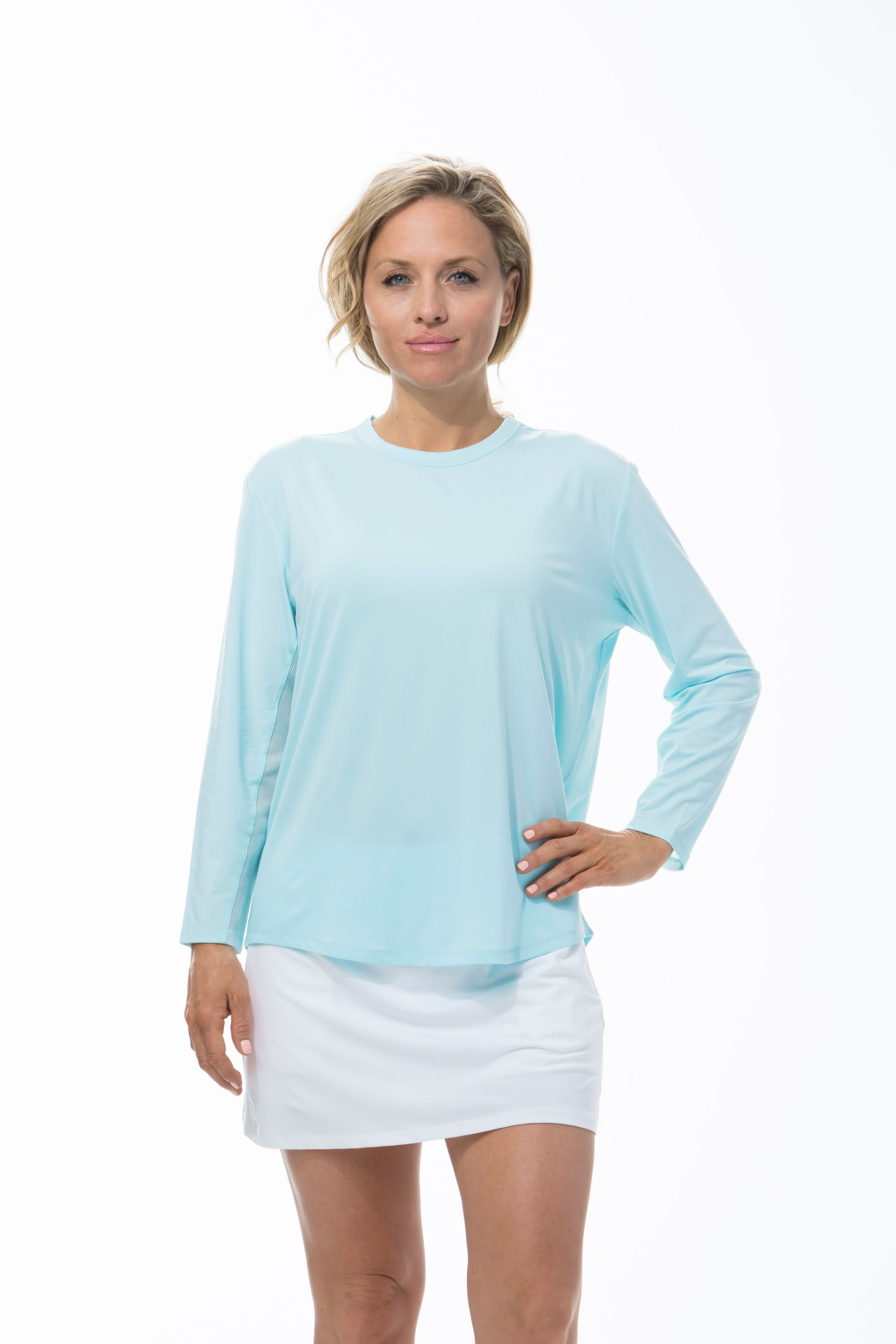 900730 Sunglow Relaxed Tee. Clearwater Blue