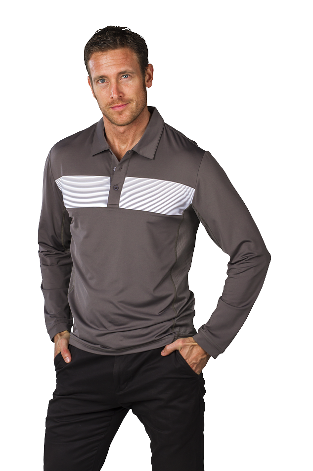900824X Men's SolCool® Button Polo with mesh. Charcoal Insets