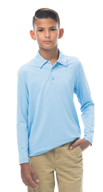 900829 Boy's Long Sleeve Polo. Vintage Blue