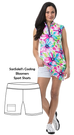 900203D SunGlow Cooling Bloomers. Sport Short. White