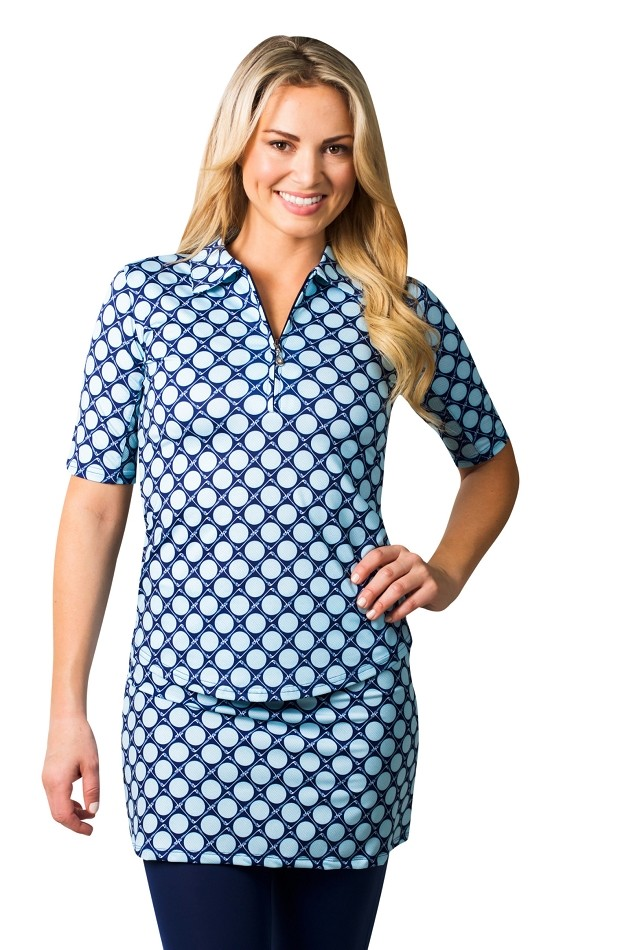900467 Short Sleeve - Elbow Length Polo.  Seeing Spots Navy