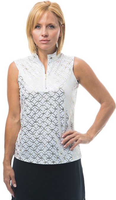 900321 - SolShine Sleeveless Zip Mock. Lattice. White w/ Gold
