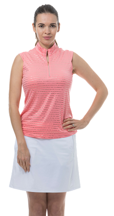 900321 - SolShine Sleeveless Zip Mock. Morse Code. Coral with Gold