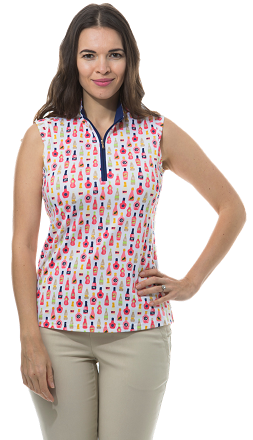 900321 - SolShine Sleeveless Zip Mock. Vineyards