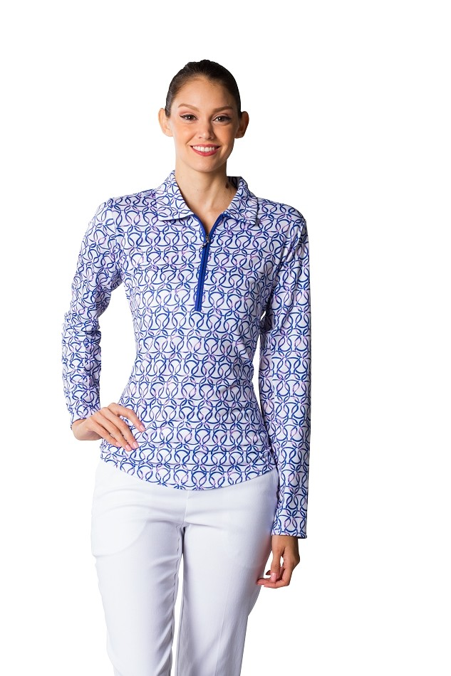 900408 SolTek Print Polo. Looped Blue