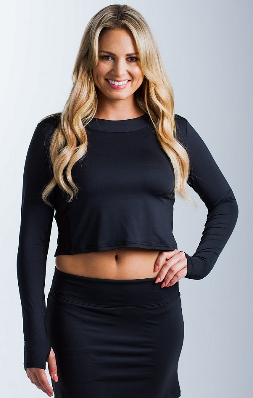 900422 SolTek Cropped Fitness Tee. Black