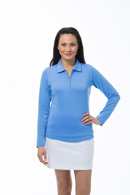 900433  SunGlow Zip Polo. Cornflower Blue