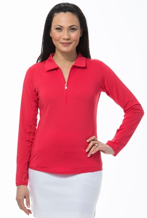 900433 SunGlow Zip Polo. Red