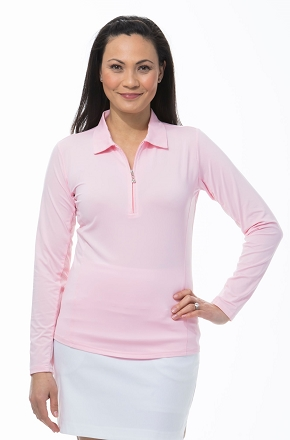 900433 SunGlow Zip Polo. Blush Pink