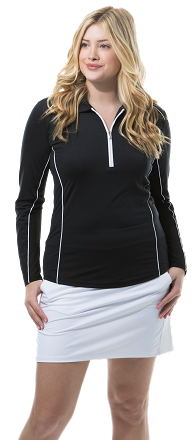 900443 SunGlow Zip Polo with Piping. Black with White