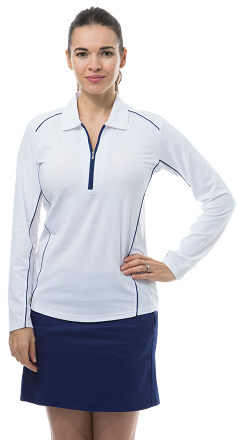 900443 SunGlow Zip Polo with Piping. White with Navy