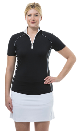 900447 SunGlow Short Sleeve Zip Mock. Black and White