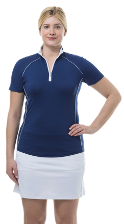 900447 SunGlow Short Sleeve Zip Mock. Navy and White