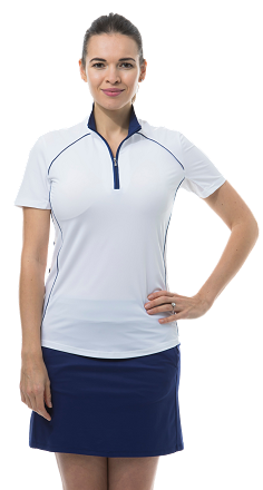 900447 SunGlow Short Sleeve Zip Mock. White. Navy