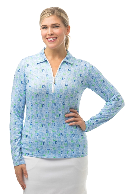 900462 - SolCool Print Polo. Golf Cart Blue