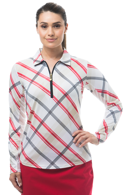 900462 SolCool  ZIP Polo. Hop Scotch Plaid. Red w/Tan